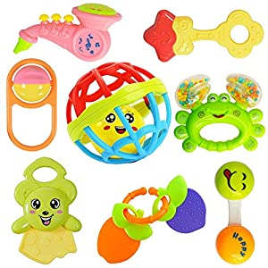 WISHKEY Colorful Attractive Plastic Non Toxic Set of 7 Shake & Grab Rattle and 1 Soothing Teether for New Born and…
