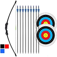 """iMay 45"""" Recurve Bow and Arrows Set Outdoor Archery Beginner Gift Longbow Kit with 9 Arrows 2 Target Face"""