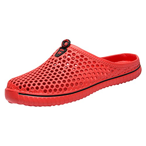 (Leisuraly Mens Summer Breathable Mesh Slippers Lightweight Mesh Clog Quick Drying Garden Shoes Footwear Anti-Slip Shoes Red)