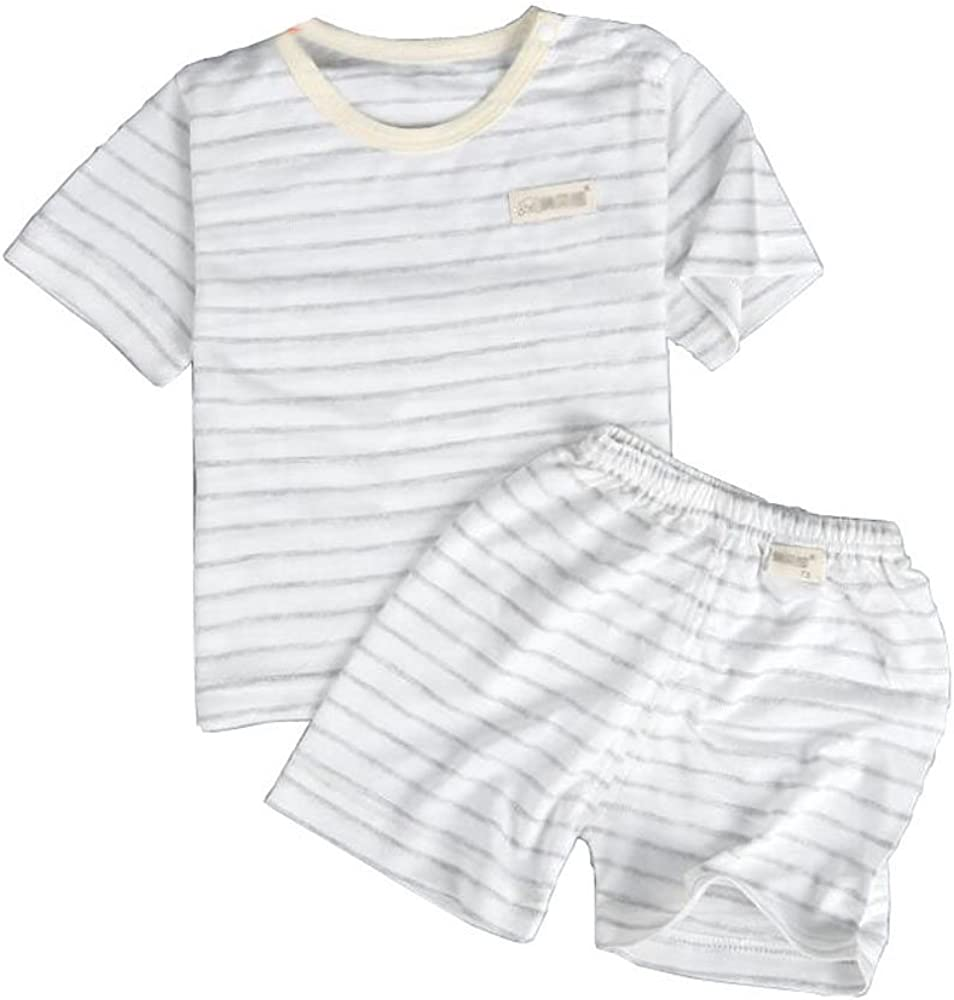 YLZ Baby Boy Girl T Shirt Pajamas Short Sleeve Stripes Summer Clothes Suits