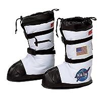 Botas de astronauta Aeromax, tamaño pequeño, blanco, con parches de la NASA