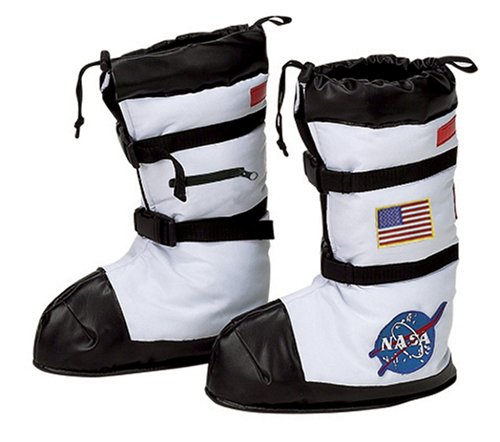 Aeromax Astronaut Boots, Size Medium, White, with NASA - Space Invaders Costume