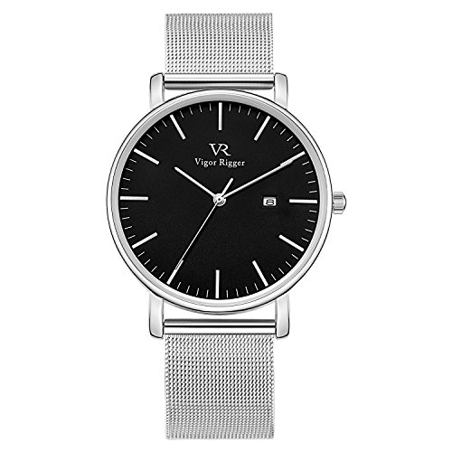 Vigor Rigger Men's Quartz Watches, Minimalist Analog Date Display Wrist Watch with Sliver Milanese Mesh Stainless Steel Band, 30M Waterproof Watch with Metal Case-1.