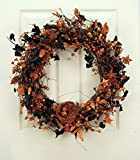 Black and Orange Sparkling Halloween Decorative Wreath with Birds Nest Front Door Indoor Decor