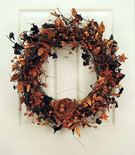 Black and Orange Sparkling Halloween Decorative Wreath with Birds Nest Front Door Indoor Decor -