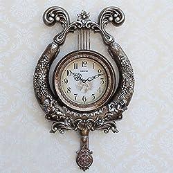 European - style high - end fashion art harp wall clock living room bedroom study creative decoration quartz watches , ky metallic silver