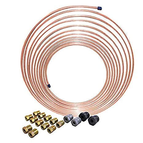 Copper-Nickel Brake Line Tubing Coil and Fitting Kit, 3/16 x 25