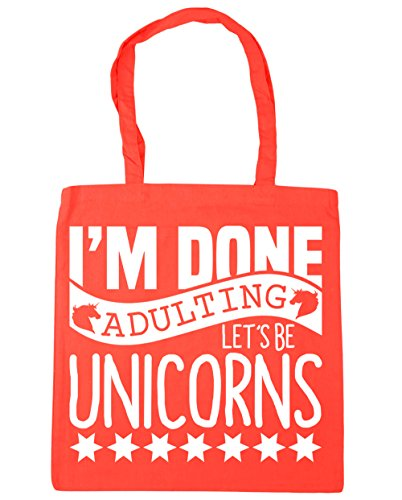 Gym x38cm 10 Done I'm Coral Shopping Adulting HippoWarehouse 42cm Beach Unicorns Tote Let's litres Bag Be 78qnTO5