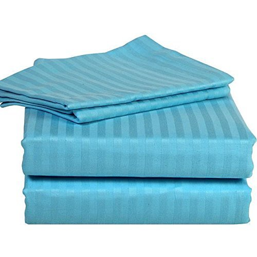 300 Thread Count Sheet Set UK Super King Turquoise Blue Teal Striped 100% Egyptian Cotton By Dreamz Bedding by Scala