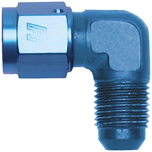 Russell 614806 Blue Anodized Aluminum 90-Degree Female -6AN to Male -6AN Adapter Fitting by Russell