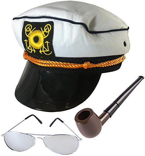 Yacht Hat Sunglasses and Pipe The HEFNER Costume Accessory Bundle -