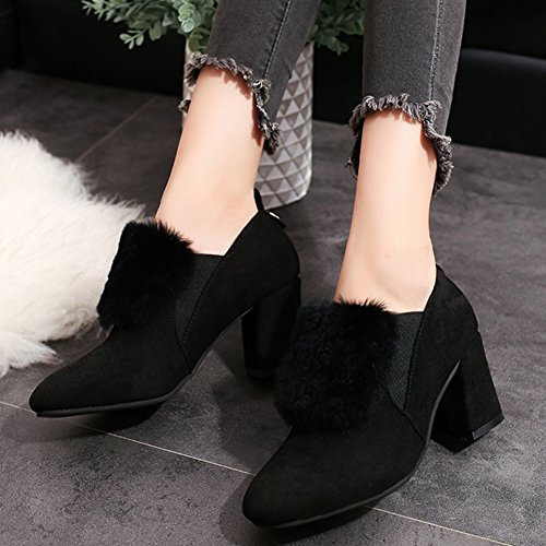 T-JULY Womens High Heels With Fur Fashion COMFRT Synthetic Slip On Moccasins Loafers Shoes Black sjnFgS8l6