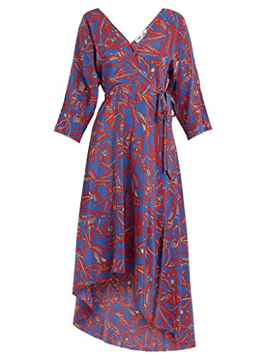 Diane von Furstenberg Women's L/S Asymmetric Hem Dress, Elsden Denim, X-Small