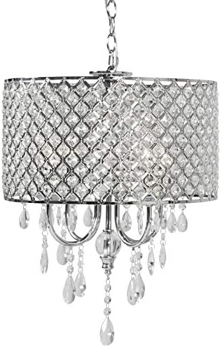 Best Choice Products Hanging Crystal Beaded Glass Light Chandelier Pendant Ceiling Lamp for Foyer, Dining Room – Silver