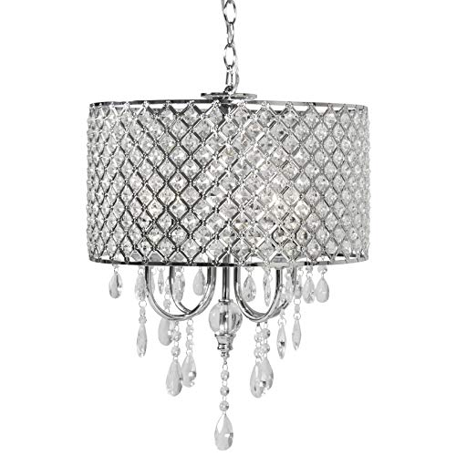 - Best Choice Products Hanging Crystal Beaded Glass Light Chandelier Pendant Ceiling Lamp for Foyer, Dining Room - Silver