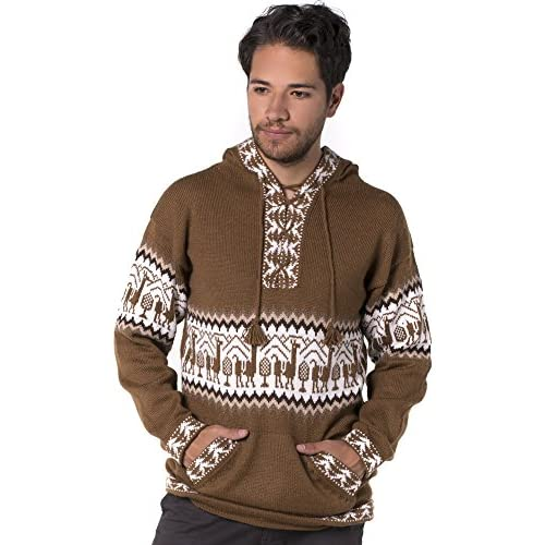 57679db546d60 outlet Gamboa Hooded Llamitas Alpaca Sweater - Brown - frozenkids.nl