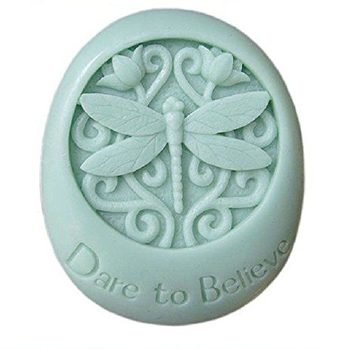 Allforhome (TM) 3D Dare to Believe Dragonfly Silicone Soap DIY Mold Oval Craft Art Polymer Clay Molds Handmade Soap Mould Candlle Soap Making Mold