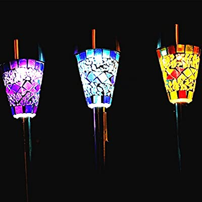 Sogrand Solar Lights Outdoor,3pcs-Pack 3Color Mosaic Lampshade,Solar Light,Landscape Lighting,Solar Pathway Lights,for Lawn,Patio,Yard,Walkway,Driveway,Pathway,Garden,Landscape