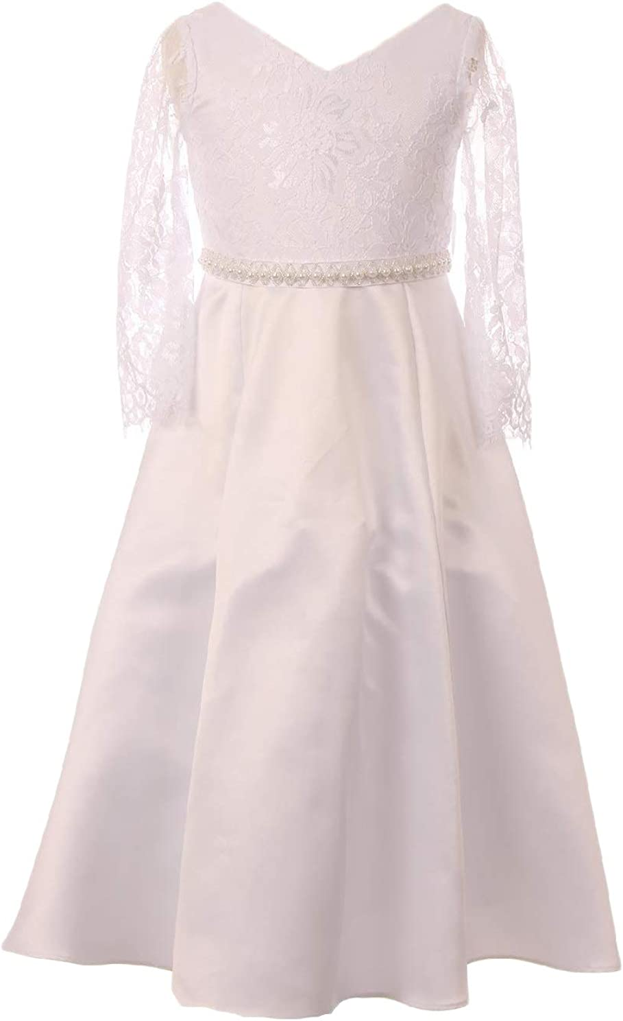 New Flower Girls White Dress First Communion Wedding Party Christmas Easter