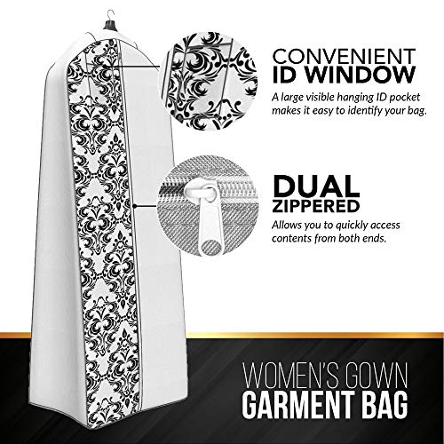 """Gusseted Wedding Dress Garment Bag - For Long Puffy Gowns - 72"""" x 24"""", 20"""" Gusset (White with Black Damask)"""