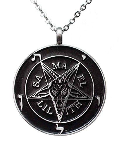 Exoticdream Inverted Pentagram Samael Lilith Baphomet Satanic Sabbatic Goat Lucifer Wiccan Pewter Pendant (24