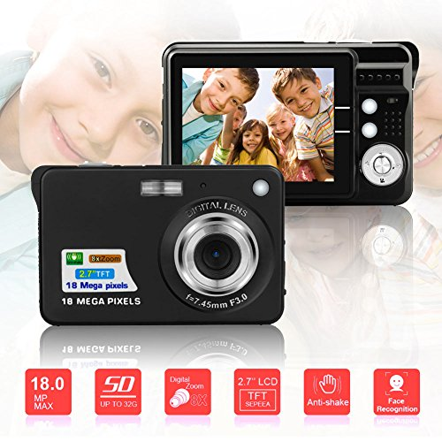 BUDPAW Mini Digital Camera HD Compact Camera 2.7 Inch TFT LCD Screen 18MP 8x Optical Zoom Anti Shake 1280x720P Christmas New Year Gift for Kids Children Students Teenager by BUDPAW