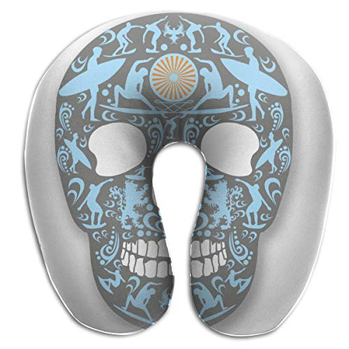 BRECKSUCH Skull Surf Decal Print U Type Pillow Memory Foam Neck Pillow for Travel and Relief Neck Pain Fashion Super Soft Cervical Pillows with Resilient Material Relex Pollow (Shape Decal Polyester)