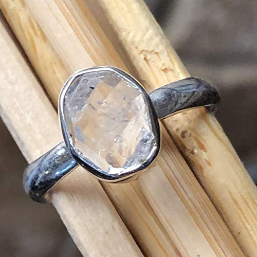 (Natural Herkimer Diamond 925 Solid Sterling Silver Cluster Healing Stone Ring sz 8.5)