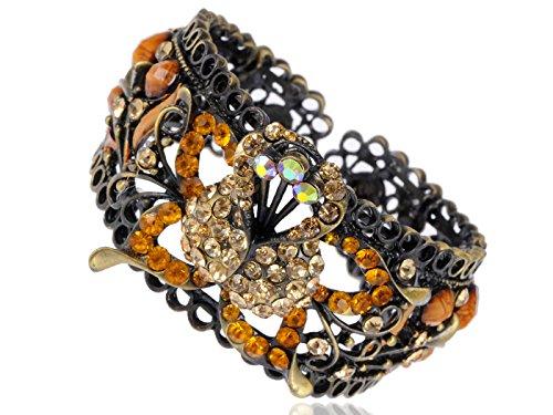 Alilang Topaz Color Rhinestone Orange Monarch Butterfly Floral Lace Cutout Cuff Bracelet Bangle