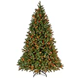 """National Tree 7 1/2 Foot """"Feel-Real"""" Downswept Douglas Fir Tree with 750 Multi-Colored Lights, CSA (PEDD3-325C-75)"""