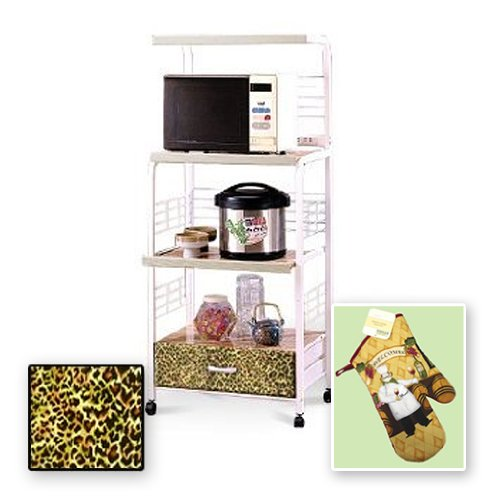 New White Finish Rolling Microwave Cart with a Cheetah Animal Print Theme Includes Free Oven Mitt by The Furniture Cove