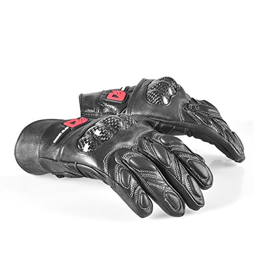 Motorcycle Carbon Fiber Leather Glove Full Finger Protecive Glove (XL(8.5-9 inches))