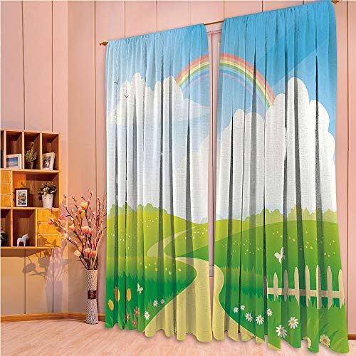 ZHICASSIESOPHIER Darkening Thermal Insulated Short Curtain Adjustable Tie Up Shade Panel for Small Window,Rod Pocket,Hills Road and Rainbow Nature Flowers Love Earth 84Wx63L Inch