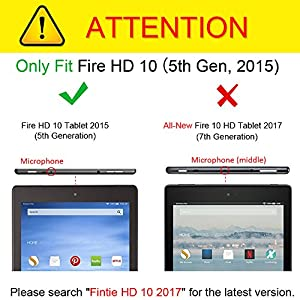 Fintie Slim Case for Fire HD 10 (5th Generation, 2015 release ONLY), Ultra Lightweight Stand Cover with Auto Wake / Sleep for Amazon Fire HD 10.1 Inch Tablet (NOT fit Fire HD 10 7th Gen, 2017), Black