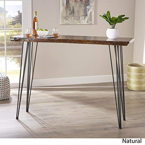 Aneissa Industrial Faux Live Edge Rectangular Bar Table, Natural
