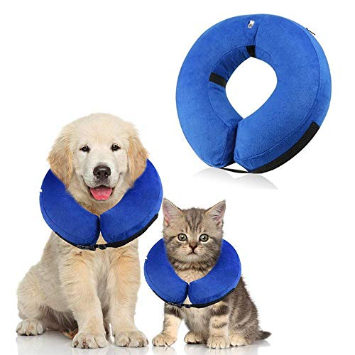 Langxian Soft Protective Inflatable Pet Collar, Dog Recovery Collar for Surgery Adjustable Comfortable Pet E-Collar for Dogs, Designed to Prevent Pets From Touching Stitches (Small) (Inflatable Cat Collar)