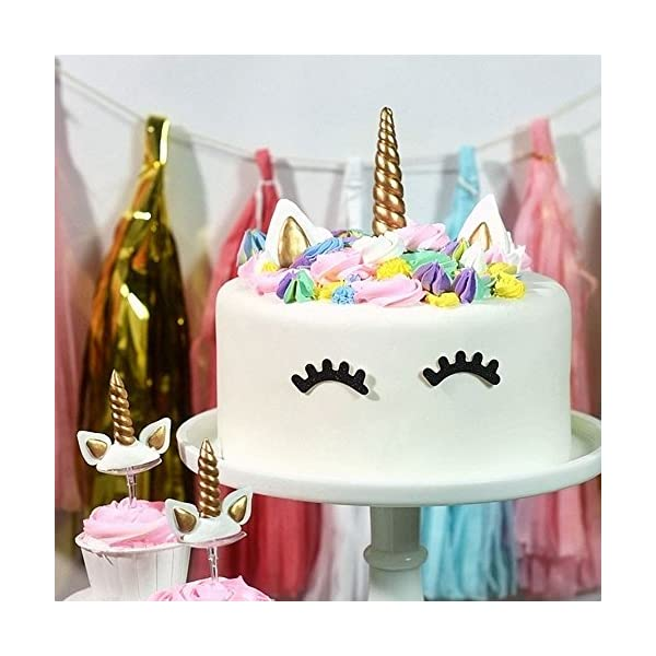 Yashell 9625321410 Topper, Reusable Gold Horn,Ears and Eyelashes Cake Value Set for Unicorn Party Decoration for Baby Shower,Weddin 6