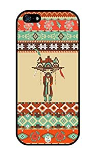 linJUN FENGiZERCASE Colorful Aztec Pattern With Human Figure Rubber iPhone 5 case - Fits iphone 5, iPhone 5S T-Mobile, Verizon, AT&T, Sprint and International