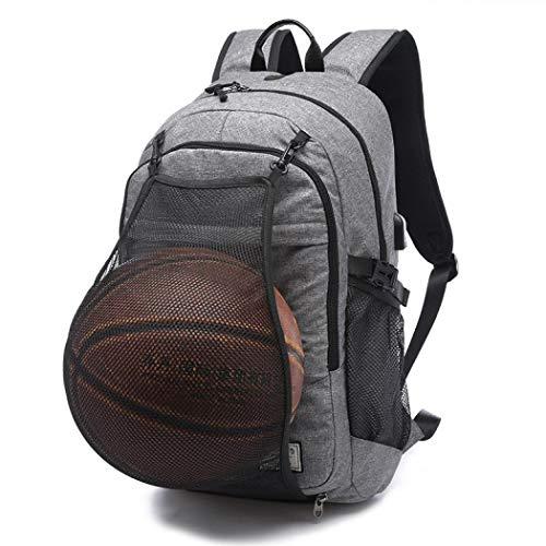 Mochila para computadora portátil de negocios, bolsa de viaje con red de baloncesto, puertos USB, resistente al agua,...