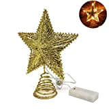 CVHOMEDECO. Golden Glittered 3D Tree Top Star with Warm White LED Lights and Timer for Christmas Ornaments and Holiday Seasonal Décor, 8-Inch