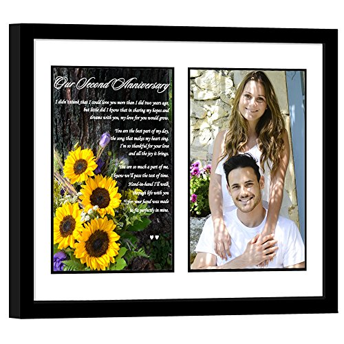Second Anniversary Gift - Sweet Poem for the 2nd Anniversary in Matted Frame - Add Photo