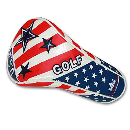 Craftsman Golf USA FLAG STAR White Blue Red Driver Large Headcover Head Cover For Callaway Big Bertha Taylormade Titleist