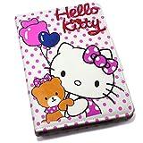 Xzihao iPad Mini Leather Case,iPad Mini 1/2/3/4 Hello Kitty Cat Stand Flip Cases Cute Cartoon Red Wave Point Book Protective Cover Case for iPad Mini 1/2/3/4
