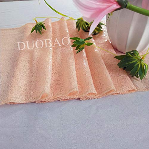 (DUOBAO Peach Sequin Table Runners 12x72-Inch Peach Sparkly Table Runner for Wedding Banquet Party Decoration-0708)