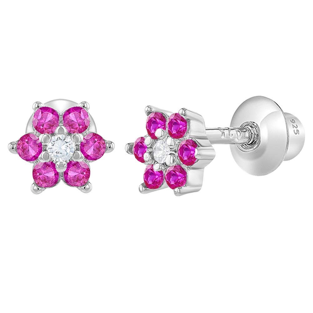 7e53488f4 Amazon.com: 925 Sterling Silver CZ Hot Pink Flower Screw Back Baby Earrings  Toddlers Kids: Jewelry