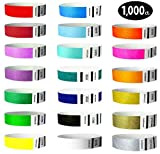 Goldistock 3/4'' Tyvek Wristbands Top Twenty Variety Pack 20 Colors 1,000 Ct.- Green (2 Shades), Blue(3 Shades), Red(2), Orange(2), Purple(2), Gold(2), Yellow, Pink, Silver, Aqua, White, Black, Teal