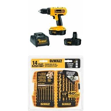 DEWALT DC970K-2 18-Volt Compact Drill/Driver Kit w/ DW1354 14-Piece Titanium Drill Bit Set