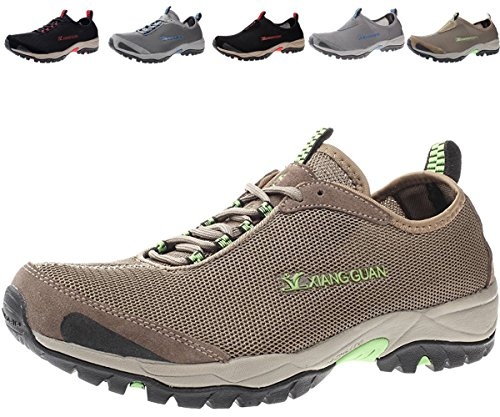 Mens Walking Shoes Breathable Lightweight Slip Resistant Athletic Water Hiking Shoes,Laceup-kakhi,10 D(M) US= EURO 43= 10.63in