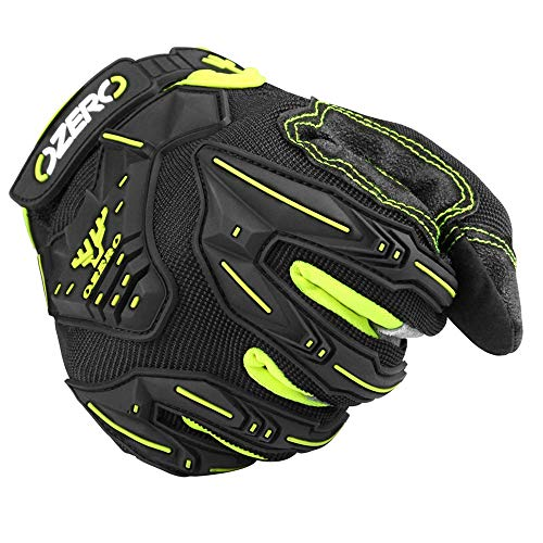 OZERO Motocross Gloves for Men with Impact Protective Big Gel - Hyflex Touch screen Fingertips and Extra Grip Deerskin Leather Palm for Motorcycle/Mountain/Dirt Bike/ATV Driving/Racing Black