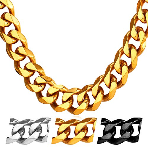 U7 Heavy Chain 12mm Wide Men Hip Hop Jewelry 18K Stamp Necklace Long Cuban Curb Chain